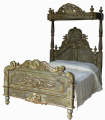 Four Poster Half Tester Bed in White and Silver